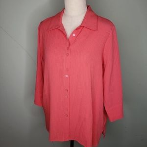 Coral button front top